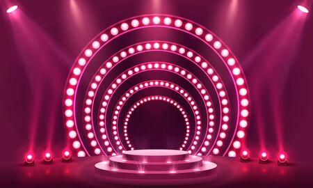 Stage Podium Scene with for Award Ceremony Illusztráció