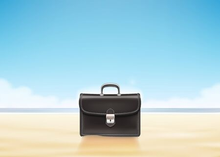 Business suitcase at sunny beach background. Vector Illustration
