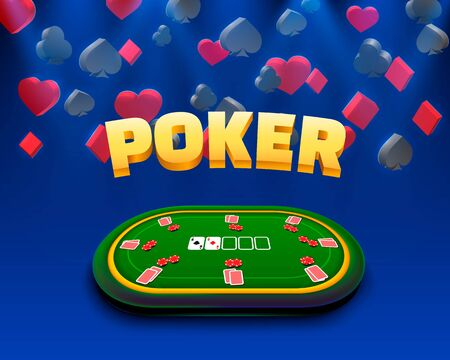 Poker chips and cards casino banner. Isolated on gold background.