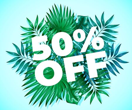 Summer sale. Background with fresh palm green leaves. Beach or tropical season concept. Vector illustration Ilustrace