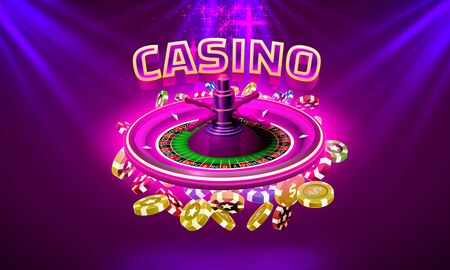 Casino roulette big win coins on the purple background. Illustration