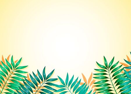 Frame of colorful tropical leaves. Concept of the jungle for the design of invitations, greeting cards and wallpapers.