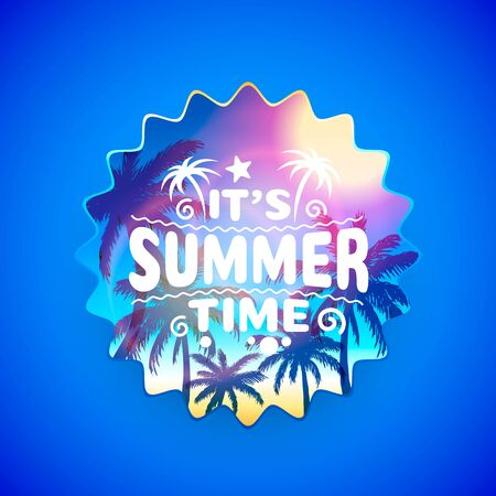 Summer time, holiday cover banner design, elements in sky background.