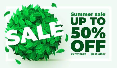 Summer or spring sale. Background with fresh green leaves. Leaf concept. Vector illustration