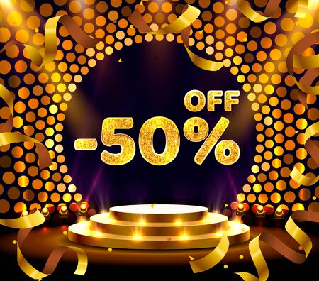 Banner 50 off with share discount percentage, Gold Ribbon Fly. Vector illustration