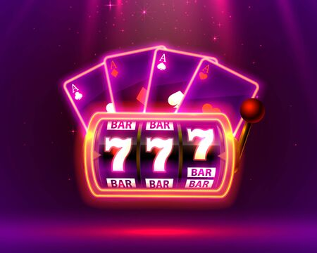 Neon slot machine, Playing Cards wins the jackpot. Vector illustration