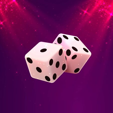 Casino dice on a white background, design element template. Vector illustration