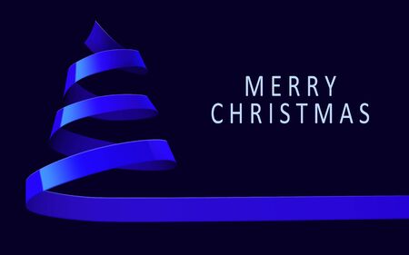 Christmas tree made of blue ribbon on dark background. New year and christmas greeting card or party invitation.