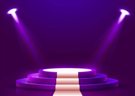 Abstract round podium with white carpet illuminated with spotlight. Award ceremony concept. Stage backdrop.