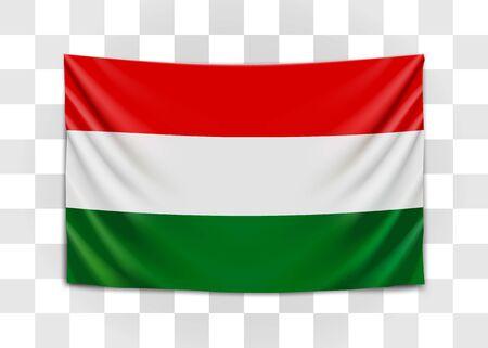 Hanging flag of Hungary. Hungary. Hungarian national flag concept. Illusztráció