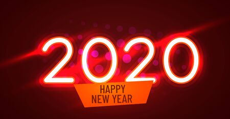 2020 Happy New Year Neon Text. 2020 New Year Design template for Seasonal Flyers and Greetings Card and Christmas themed invitations. Light Banner. Illustration