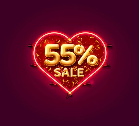 Heart Sale 55 off ballon number on the white background. Vector illustration