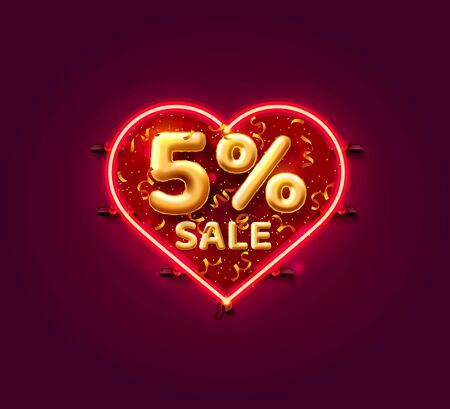 Heart Sale 5 off ballon number on the white background. Vector illustration