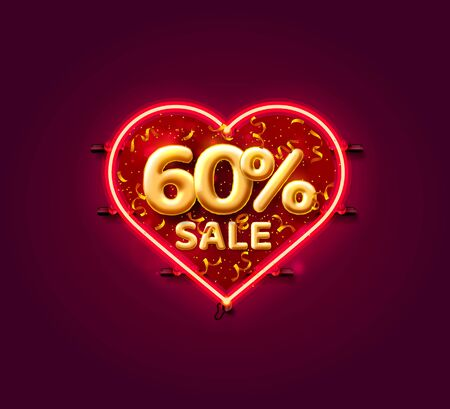 Heart Sale 60 off ballon number on the white background. Vector illustration