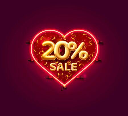 Heart Sale 20 off ballon number on the white background. Vector illustration Illustration