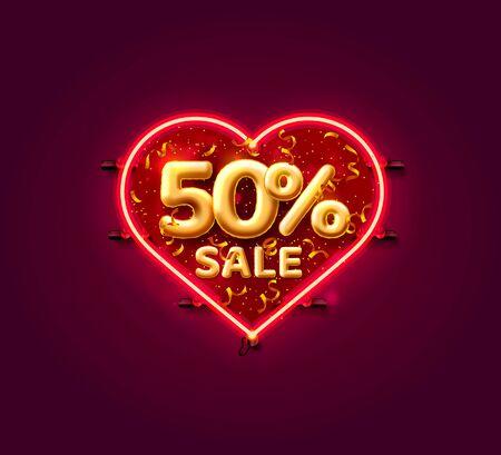 Heart Sale 50 off ballon number on the white background. Vector illustration Illustration