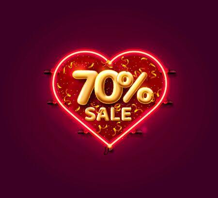 Heart Sale 70 off ballon number on the white background. Vector illustration Illustration