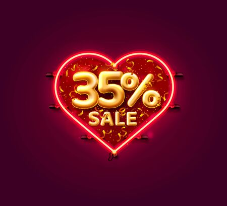 Heart Sale 35 off ballon number on the white background. Vector illustration
