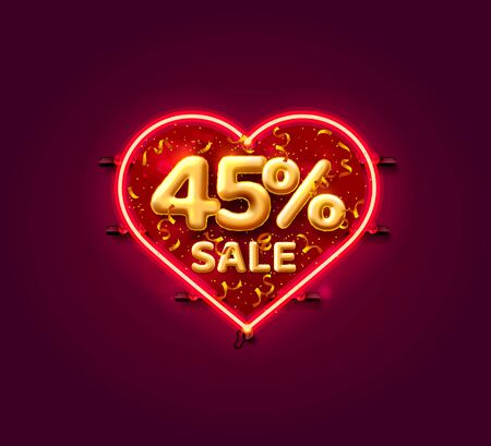 Heart Sale 45 off ballon number on the white background. Vector illustration