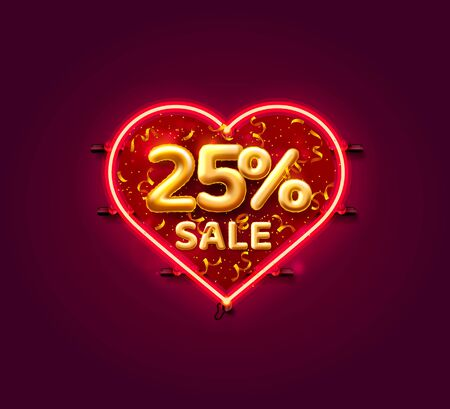 Heart Sale 25 off ballon number on the white background. Vector illustration