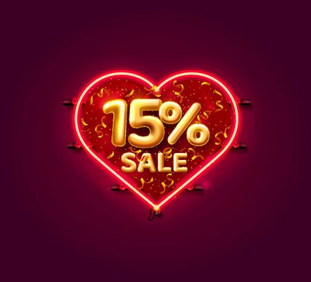 Heart Sale 15 off ballon number on the white background. Vector illustration