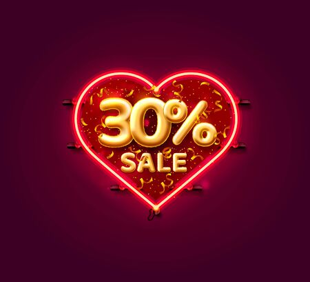 Heart Sale 30 off ballon number on the white background. Vector illustration