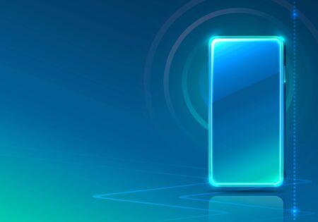 Screen phone neon icon app modern. blue background. Vector illustration