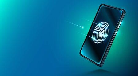 Mobile data security concept. Smartphone with fingerprint scanner. Internet security. Fingerprint access password, fingerprint on smartphone screen, data protection. Vector illustration
