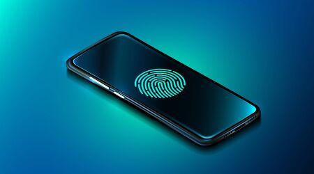 Mobile data security concept. Smartphone with fingerprint scanner. Internet security. Fingerprint access password, fingerprint on smartphone screen, data protection. Vektorové ilustrace
