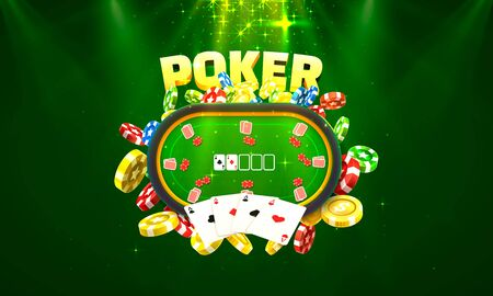 Poker table with the cards and chips background.