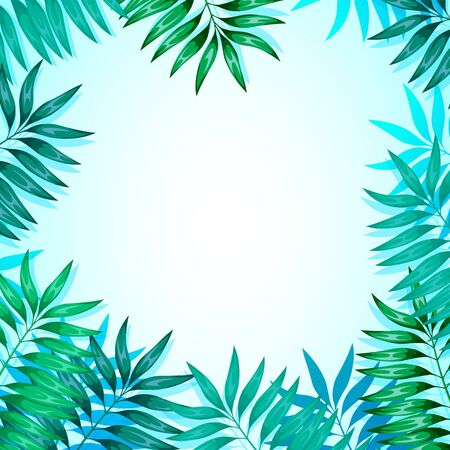 Frame of colorful tropical leaves. Concept of the jungle for the design of invitations, greeting cards and wallpapers. Vector illustration Ilustracje wektorowe