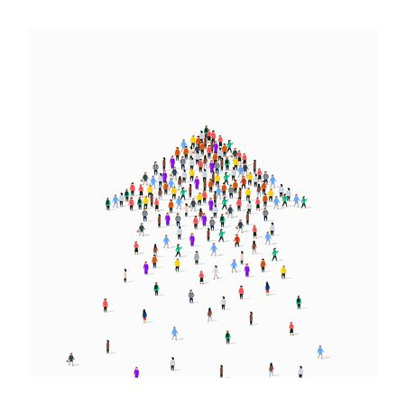 Large group of people in an arrow. Ilustracja