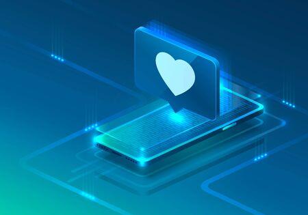 Screen phone neon icon like heart modern. blue background.