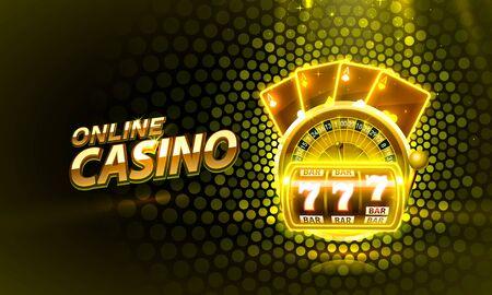 Cubierta de casino 3d, máquinas tragamonedas y ruleta con cartas, arte de fondo de escena.