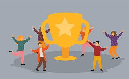 Business Team Success, Achievement Concept. Flat People Characters with Prize, Golden Cup. Office Workers Celebrating with Big Trophy.