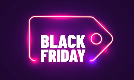 Black Friday realistic neon sign for decoration and covering. Concept of sale, clearance and discount. Vector illustration Ilustracja