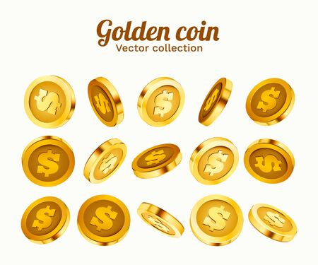 3d gold isolated coins set. Different positions. Flying gold coins, golden rain background. Jackpot or success concept. Vector illustration