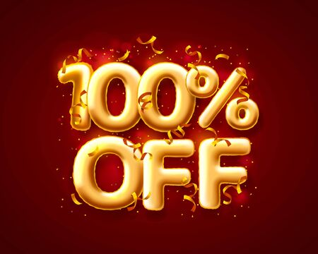 Sale 100 off ballon number on the red background. Vector illustration