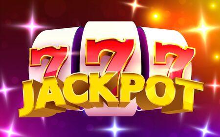 Slot machine coins wins the jackpot. 777 Big win casino concept. Vector illustration Foto de archivo - 139861412