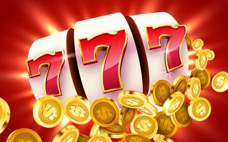 Golden slot machine with flying golden coins wins the jackpot. Big win concept. Vector illustration  イラスト・ベクター素材