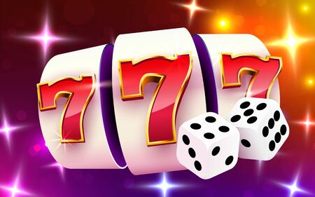 Slot machine wins the jackpot. Slots and dice casino concept. 777 Big win.