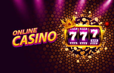 King slots 777 banner casino on the golden background. Banque d'images - 140021258
