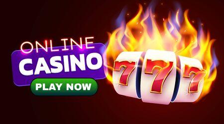 Burning slot machine wins wins the jackpot. Fire casino concept. Hot 777 Çizim