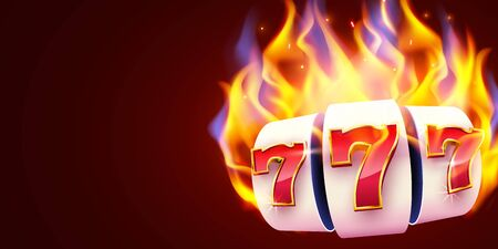 Burning slot machine wins wins the jackpot. Fire casino concept. Hot 777  イラスト・ベクター素材
