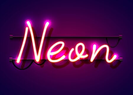Neon sign, the word Neon on dark background. Background for your design, greeting card, banner. Vector illustration