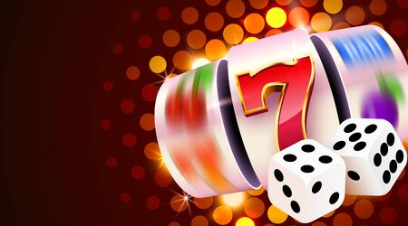 Slot machine and dices wins the jackpot. 777 Big win casino concept.