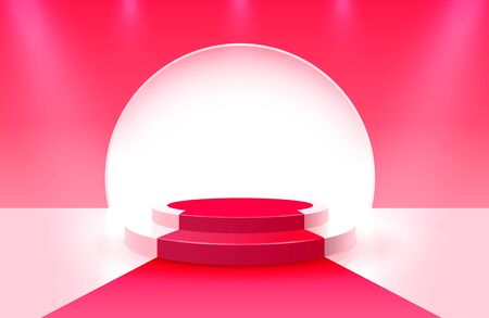 Stage podium with lighting, Stage Podium Scene with for Award Ceremony on red Background.
