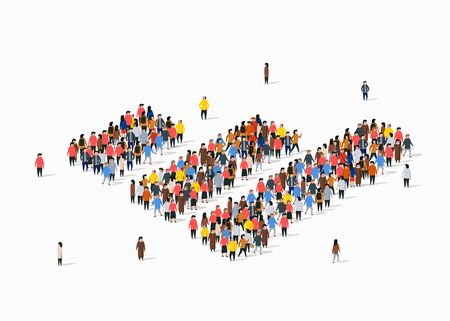 People crowd in form of growing chart. Statistic concept. Ilustración de vector