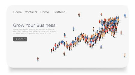 Large group of people in the shape of growing arrow. Web site landing page template. Ilustracja