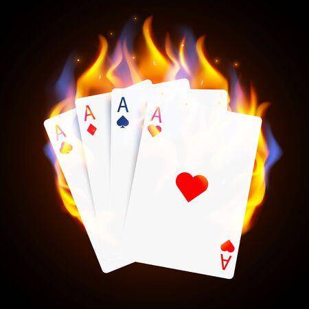 Burning Casino Poker Cards. Online casino and flaming gambling concept.